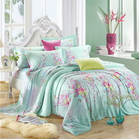 Interesting Flowers Green Bedding Set Girls Bedding Floral Bedding Duvet Cover Pillow Sham Flat Sheet Gift Idea