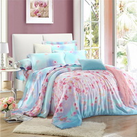 Listen To Flower Blue Bedding Set Girls Bedding Floral Bedding Duvet Cover Pillow Sham Flat Sheet Gift Idea