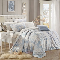 Love Waltz Blue Bedding Set Girls Bedding Floral Bedding Duvet Cover Pillow Sham Flat Sheet Gift Idea