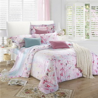 Peach Blossom Pink Bedding Set Girls Bedding Floral Bedding Duvet Cover Pillow Sham Flat Sheet Gift Idea