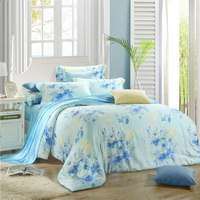 Sky City Blue Bedding Set Girls Bedding Floral Bedding Duvet Cover Pillow Sham Flat Sheet Gift Idea