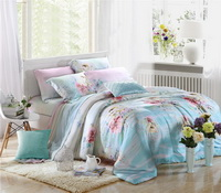 Wonderful World Blue Bedding Set Girls Bedding Floral Bedding Duvet Cover Pillow Sham Flat Sheet Gift Idea