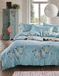 Annie Blue Bedding Set Luxury Bedding Collection Satin Egyptian Cotton Duvet Cover Set