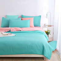 Coral Cyan Bedding Set Duvet Cover Pillow Sham Flat Sheet Teen Kids Boys Girls Bedding