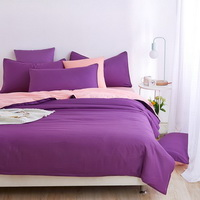 Coral Purple Bedding Set Duvet Cover Pillow Sham Flat Sheet Teen Kids Boys Girls Bedding