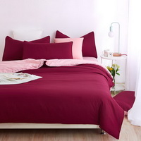 Coral Wine Bedding Set Duvet Cover Pillow Sham Flat Sheet Teen Kids Boys Girls Bedding