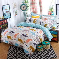 Leopards Beige Bedding Set Duvet Cover Pillow Sham Flat Sheet Teen Kids Boys Girls Bedding