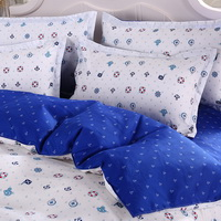 Navy White Bedding Set Duvet Cover Pillow Sham Flat Sheet Teen Kids Boys Girls Bedding