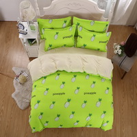 Pineapples Green Bedding Set Duvet Cover Pillow Sham Flat Sheet Teen Kids Boys Girls Bedding