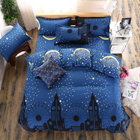 Stars And Moon Blue Bedding Set Duvet Cover Pillow Sham Flat Sheet Teen Kids Boys Girls Bedding