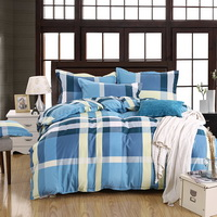 Tartan Blue Bedding Set Duvet Cover Pillow Sham Flat Sheet Teen Kids Boys Girls Bedding