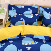 Whales Blue Bedding Set Duvet Cover Pillow Sham Flat Sheet Teen Kids Boys Girls Bedding