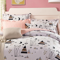 Abstract Cat White 100% Cotton 4 Pieces Bedding Set Duvet Cover Pillow Shams Fitted Sheet