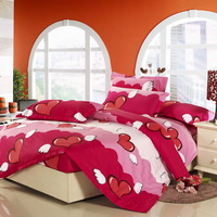 Angel Heart Rose 100% Cotton 4 Pieces Bedding Set Duvet Cover Pillow Shams Fitted Sheet