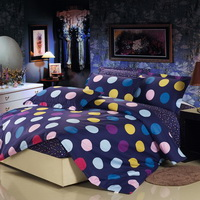 Polka Dots Blue 100% Cotton 4 Pieces Bedding Set Duvet Cover Pillow Shams Fitted Sheet
