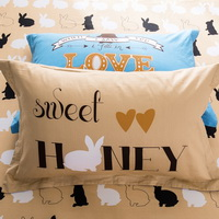 Sweet Honey Orange 100% Cotton 4 Pieces Bedding Set Duvet Cover Pillow Shams Fitted Sheet