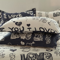 Love Blue 100% Cotton Luxury Bedding Set Kids Bedding Duvet Cover Pillowcases Fitted Sheet