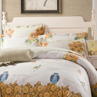 Owl And Bird Beige 100% Cotton Luxury Bedding Set Kids Bedding Duvet Cover Pillowcases Fitted Sheet