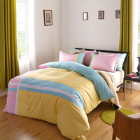 Attractive Yellow 100% Cotton Luxury Bedding Set Stripes Plaids Bedding Duvet Cover Pillowcases Fitted Sheet