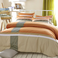 Autumn Orange 100% Cotton Luxury Bedding Set Stripes Plaids Bedding Duvet Cover Pillowcases Fitted Sheet