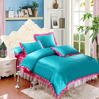 Lake Blue And Rose Silk Duvet Cover Set Teen Girl Bedding Princess Bedding Set Silk Bed Sheet Gift Idea