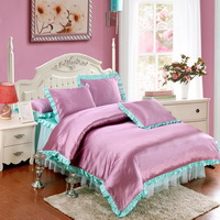 Light Purple And Blue Silk Duvet Cover Set Teen Girl Bedding Princess Bedding Set Silk Bed Sheet Gift Idea