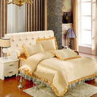 Tan And Golden Silk Duvet Cover Set Teen Girl Bedding Princess Bedding Set Silk Bed Sheet Gift Idea