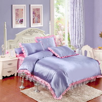 Violet And Pink Silk Duvet Cover Set Teen Girl Bedding Princess Bedding Set Silk Bed Sheet Gift Idea
