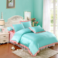 Water Blue And Pink Silk Duvet Cover Set Teen Girl Bedding Princess Bedding Set Silk Bed Sheet Gift Idea