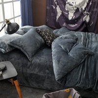 Gray Velvet Flannel Duvet Cover Set for Winter. Use It as Blanket or Throw in Spring and Autumn, as Quilt in Summer.