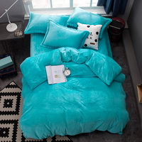 Lake Blue Velvet Flannel Duvet Cover Set for Winter. Use It as Blanket or Throw in Spring and Autumn, as Quilt in Summer.
