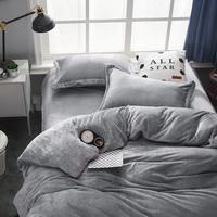 Light Grey Velvet Flannel Duvet Cover Set for Winter. Use It as Blanket or Throw in Spring and Autumn, as Quilt in Summer.