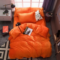 Orange Velvet Flannel Duvet Cover Set for Winter. Use It as Blanket or Throw in Spring and Autumn, as Quilt in Summer.