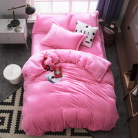Pink Velvet Flannel Duvet Cover Set for Winter. Use It as Blanket or Throw in Spring and Autumn, as Quilt in Summer.