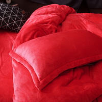 Red Velvet Flannel Duvet Cover Set for Winter. Use It as Blanket or Throw in Spring and Autumn, as Quilt in Summer.