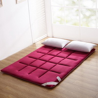 Wine Burgundy Flannel Japanese Floor Futon Mattress Sleeping Pad Tatami Mat Japanese Bed Roll Foldable Roll Up Mattress Futon Memory Foam Rolling Bed Shikibuton