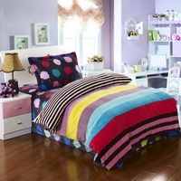 Colorful Space Flannel Duvet Cover Set Kids Bedding