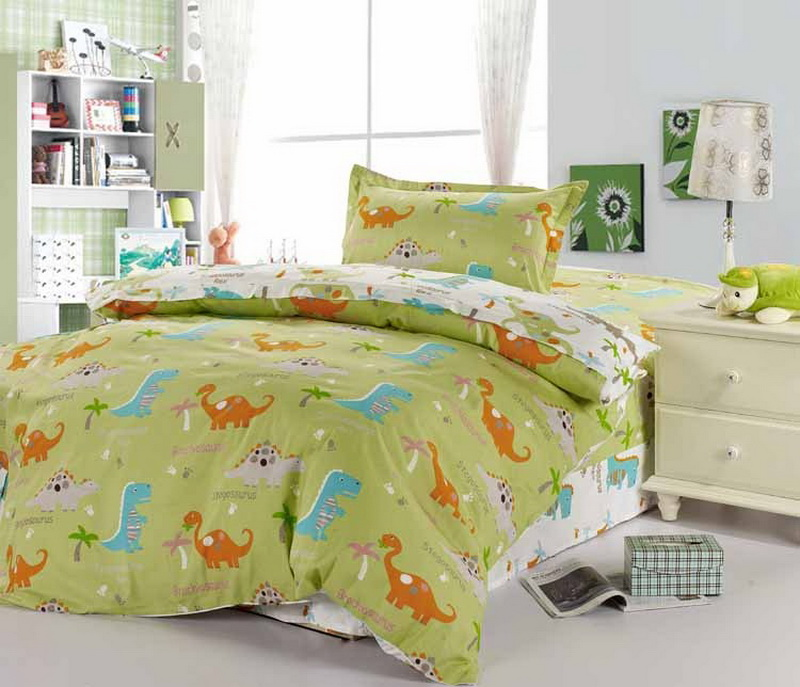 colorful mart dinosaur paradise green dinosaur bedding set