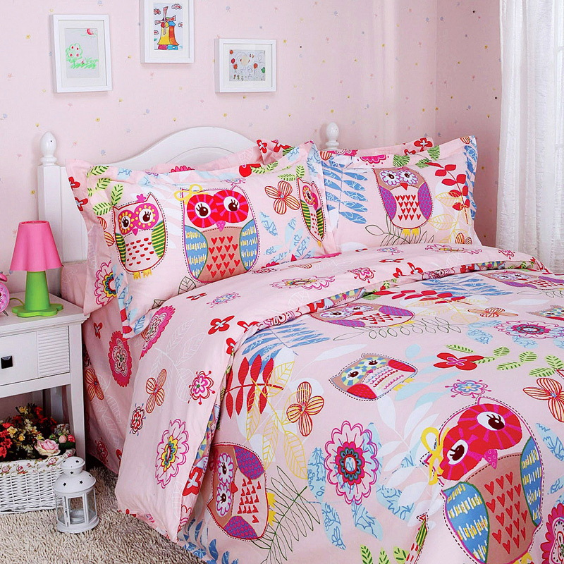 Colorful Mart Happy Forest Pink Owl Duvet Cover Set Owl