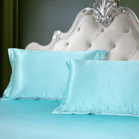 Sea Blue Silk Pillowcase, Include 2 Standard Pillowcases, Envelope Closure, Prevent Side Sleeping Wrinkles, Have Good Dreams