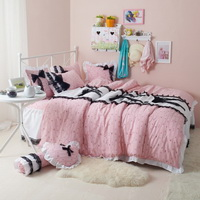 Black Temptation Cats Pink Princess Bedding Girls Bedding Duvet Cover Set