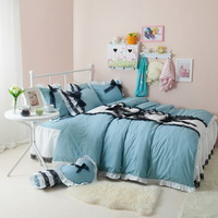 Black Temptation Polka Dots Blue Princess Bedding Girls Bedding Duvet Cover Set