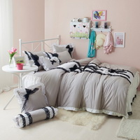 Black Temptation Polka Dots Gray Princess Bedding Girls Bedding Duvet Cover Set