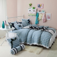 Black Temptation Stripes Blue Princess Bedding Girls Bedding Duvet Cover Set