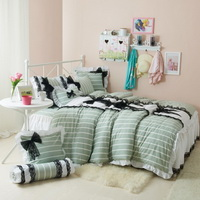Black Temptation Stripes Green Princess Bedding Girls Bedding Duvet Cover Set