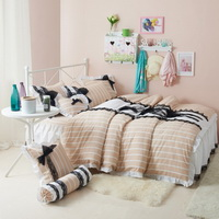 Black Temptation Stripes Orange Princess Bedding Girls Bedding Duvet Cover Set