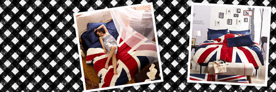 I Love England Blue English Flag Bedding Velvet Bedding Modern