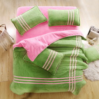 Green Pink Coral Fleece Bedding Teen Bedding