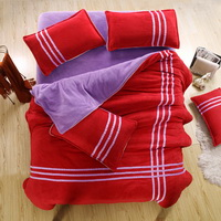 Red Purple Coral Fleece Bedding Teen Bedding