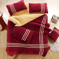 Wine Red Camel Coral Fleece Bedding Teen Bedding